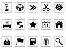 Botones de los iconos negros de la barra de herramientas y del interfaz Foto de archivo libre de regalías