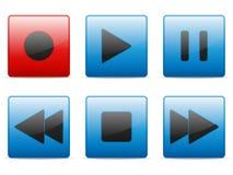Botones de los media fijados Imágenes de archivo libres de regalías