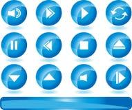 Botones de los multimedia - azul Imagen de archivo