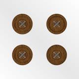 Botones de madera aislados imagen de archivo