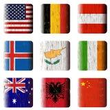 Botones de madera, banderas stock de ilustración