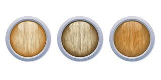 Botones de madera brillantes ligeros con el anillo del metal Fotos de archivo libres de regalías