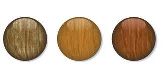 Botones de madera brillantes oscuros medios ilustración del vector