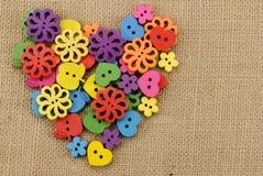 Botones de madera coloridos Imágenes de archivo libres de regalías