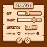 Botones de madera del juego del estilo del menú de la opción Foto de archivo libre de regalías