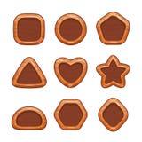 Botones de madera de la historieta fijados stock de ilustración