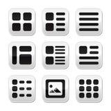 Botones de opciones de la visualización de la opinión de la galería del Web site fijados Foto de archivo libre de regalías