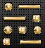 Botones de oro Imagenes de archivo