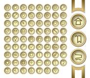 Botones de oro del interfaz Imágenes de archivo libres de regalías