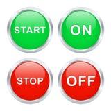 Botones de paro del comienzo y. Fotos de archivo libres de regalías
