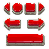 Botones de piedra rojos de la historieta para el juego o el diseño web Imágenes de archivo libres de regalías