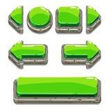 Botones de piedra verdes de la historieta para el juego o el diseño web Imagen de archivo libre de regalías
