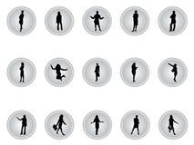 Botones de plata de empresarias Fotos de archivo
