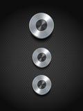 Botones de plata del control en negro Foto de archivo libre de regalías