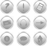 Botones de plata del Web site Imagen de archivo
