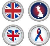 Botones de Reino Unido Fotografía de archivo
