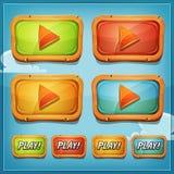 Botones de reproducción e iconos para el juego Ui Foto de archivo libre de regalías