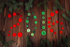 Botones del árbol de navidad, verdes y rojos, el concepto de Christma Fotografía de archivo libre de regalías