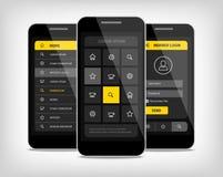 botones del amarillo del ui de los teléfonos móviles Fotos de archivo libres de regalías