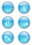 Botones del azul de la naturaleza Imágenes de archivo libres de regalías