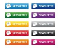 Botones del boletín de noticias Imagen de archivo