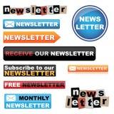 Botones del boletín de noticias Fotos de archivo libres de regalías
