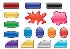 Botones del color con diversas formas Fotos de archivo libres de regalías