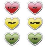 Botones del corazón del tráfico Imagenes de archivo