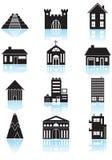 Botones del edificio - blancos y negros stock de ilustración