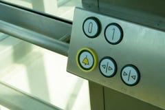 Botones del elevador dentro foto de archivo
