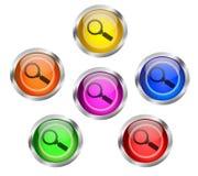 Botones del icono de la búsqueda del enfoque de la lente que magnifica Foto de archivo libre de regalías