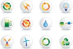 Botones del icono de la energía eléctrica stock de ilustración