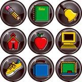 Botones del icono de la escuela Fotos de archivo