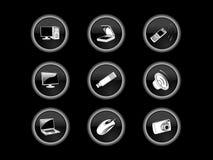 Botones del icono de la tecnología imagenes de archivo