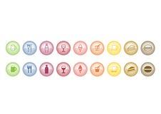 Botones del icono del alimento Fotografía de archivo libre de regalías