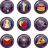 Botones del icono del partido Foto de archivo libre de regalías