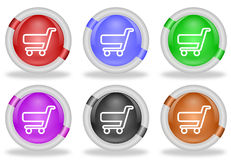 Botones del icono del web del carro de la compra Foto de archivo libre de regalías