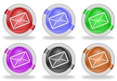 Botones del icono del web del sobre del correo Imagenes de archivo