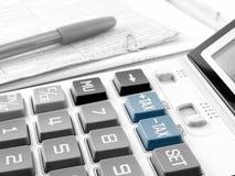 Botones del impuesto en la calculadora Fotos de archivo libres de regalías