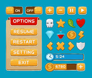 Botones del interfaz fijados para los juegos o los apps Foto de archivo