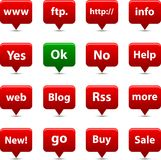 Botones del Internet. Fotos de archivo