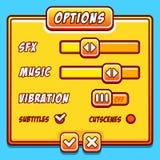 Botones del juego del estilo del amarillo del menú de las opciones Fotografía de archivo libre de regalías