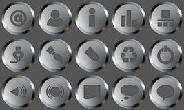 Botones del metal fijados Imágenes de archivo libres de regalías