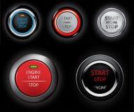 Botones del motor de la parada de comienzo Foto de archivo libre de regalías
