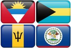 Botones del NA: Antigua, Bahamas, Barbados, Belice Imagen de archivo libre de regalías