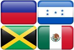 Botones del NA: Haití, Honduras, Jamaica, México Fotos de archivo