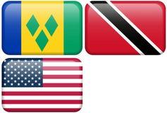 Botones del NA: St. Vincent, Trinidad y Trinidad y Tobago, los E.E.U.U. Fotografía de archivo