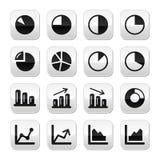 Botones del negro del gráfico de la carta fijados para el infographics Imagen de archivo