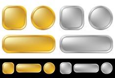 Botones del oro y de la plata Imagen de archivo libre de regalías