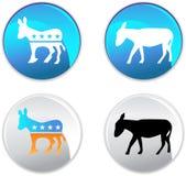 Botones del partido Democratic Imágenes de archivo libres de regalías